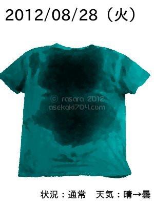 20120828@運動してTシャツの汗ジミを記録しよう法