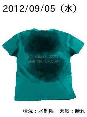 20120905@運動してTシャツの汗ジミを記録しよう法