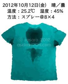 20121012@運動してTシャツの汗ジミを記録しよう法