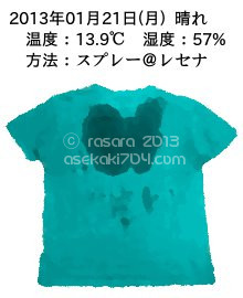 20130121@運動してTシャツの汗ジミを記録しよう法