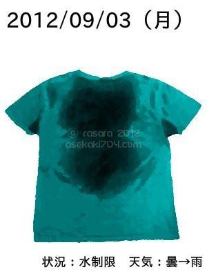 20120903@運動してTシャツの汗ジミを記録しよう法