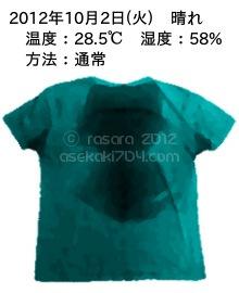 20121002@運動してTシャツの汗ジミを記録しよう法