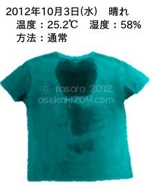 20121003@運動してTシャツの汗ジミを記録しよう法