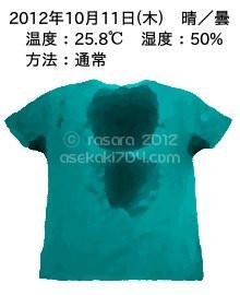20121011@運動してTシャツの汗ジミを記録しよう法