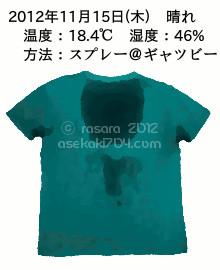 20121115@運動してTシャツの汗ジミを記録しよう法