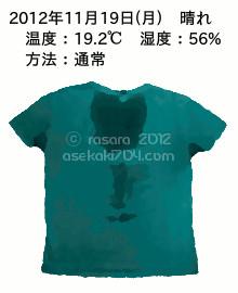 20121119@運動してTシャツの汗ジミを記録しよう法
