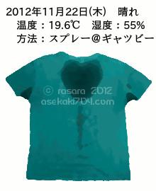 20121122@運動してTシャツの汗ジミを記録しよう法